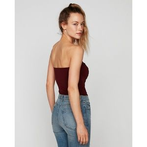 Express Tops - Express Lace Up Tube Bodysuit